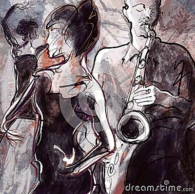 De band van de jazz met dansers