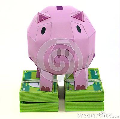 De bank van het varken met bankbiljet