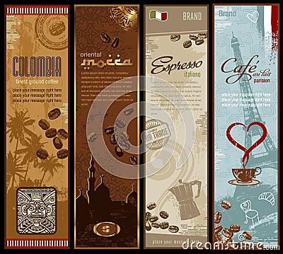 De banners van de koffie