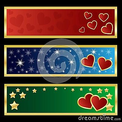 De banners van de valentijnskaart