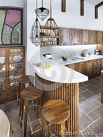 Houten bar in keuken stock foto   afbeelding: 40533752