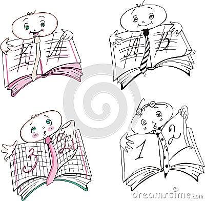 De beeldverhalen van het het tekenboek van de leerling