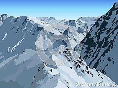De bergmening van de winter