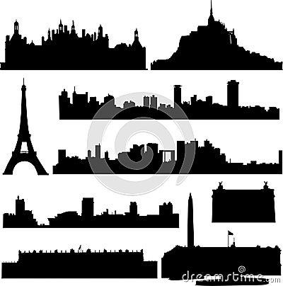 De beroemde gebouwen van Frankrijk.