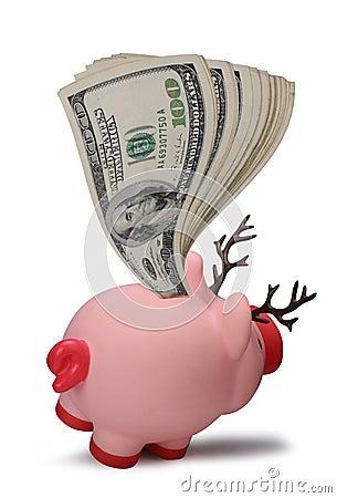 De besparingenspaarvarken van Kerstmis