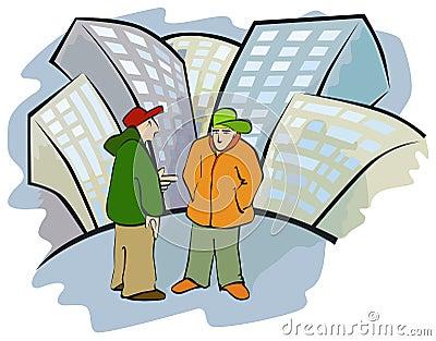 De bespreking van de straat