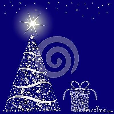 De blauwe achtergrond van Kerstmis