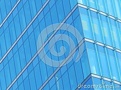 De blauwe voorzijde van het de bouwglas