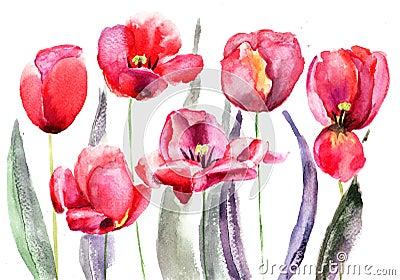 De bloemen van tulpen