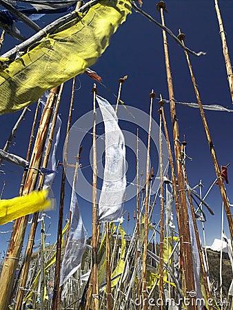 De boeddhistische Vlaggen van het Gebed - Koninkrijk van Bhutan