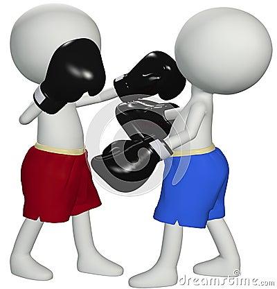 De boksers slaan knockout in 3D het in dozen doen strijd