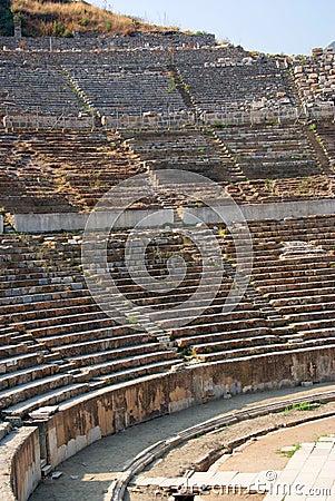 De boog van het detail van oud theater van ephesus