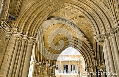 De boogdetail Lefkosia Cyprus van de moskee