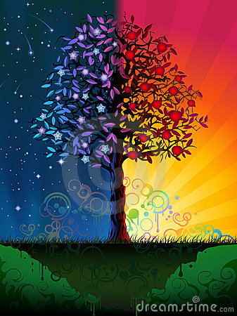 De boom van de dag en van de nacht