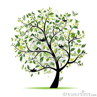 De boom van de lente groen met vogels voor uw ontwerp illustratie