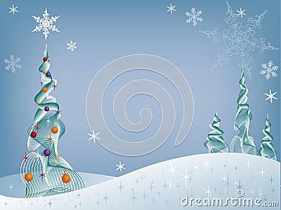 De boom van de vakantie in de sneeuw