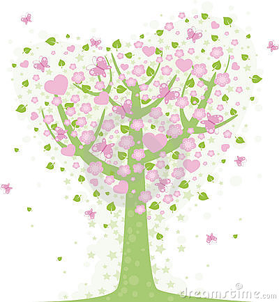 De boom van de valentijnskaart