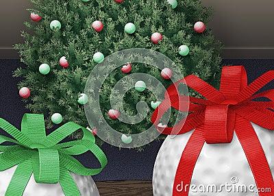 De Boom van Kerstmis van de golfbal