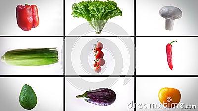 De bourdonnement montage de tourner les légumes humides, sur un fond blanc, collage banque de vidéos