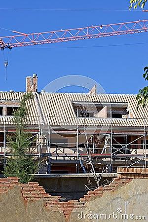De bouw of bouwwerf met kraan
