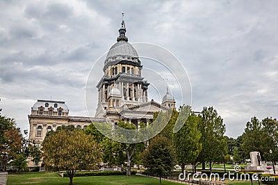 De Bouw van het Huis en van het Capitool van de Staat van Illinois