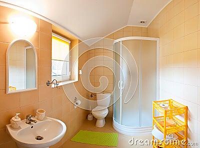 De brede hoek van de badkamers