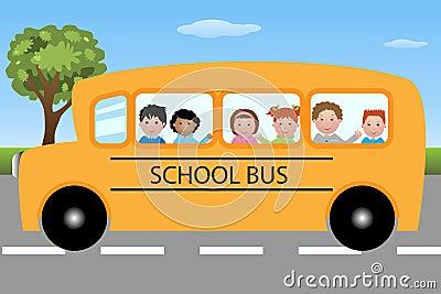 De bus van de school met kinderen