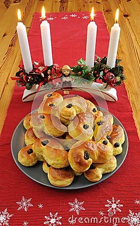 De cakes van de saffraan op Zweedse lijst