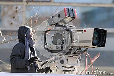 De camera van de uitzending