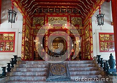 De Chinese stijlbouw bij de Pa van de Klap binnen, Thailand