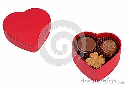 De chocoladedoos van de valentijnskaart