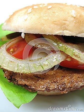 De close-up van de hamburger