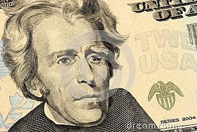 De close-up van de twintig dollarsrekening