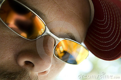 De close-up van de zonnebril