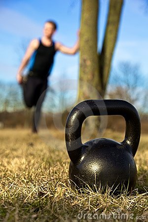 De close-up van Kettlebell