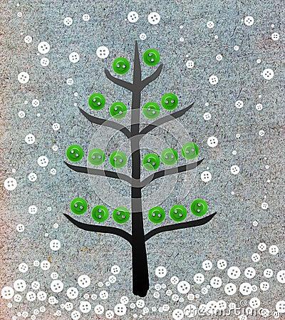 De collage van de kerstboom met knopen
