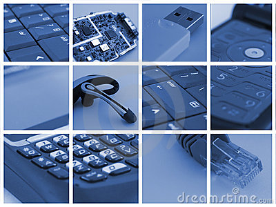 De collage van de technologie