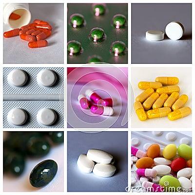 De collage van pillen