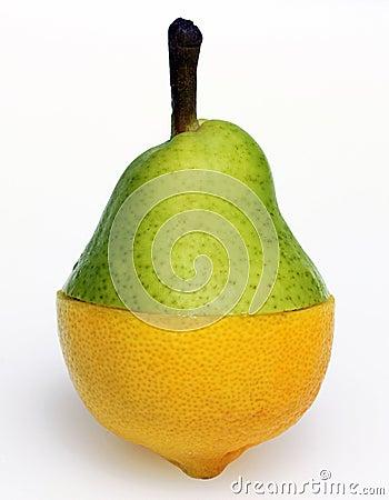 De combinatie van de peer en van de citroen