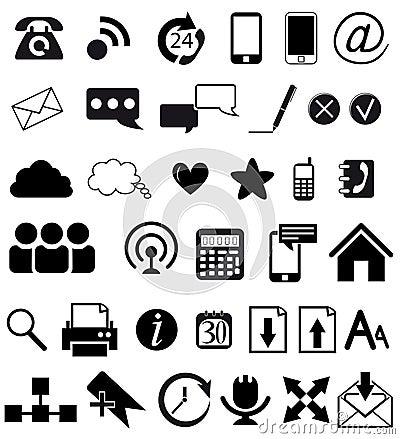 De communicatie pictogrammen van het Web en