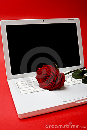 De computer en rood nam toe