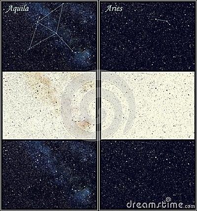 De constellaties van Aquila en van de Ram