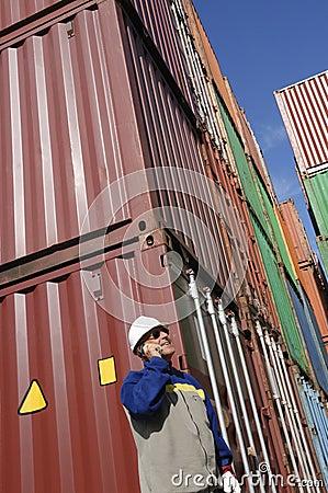 De containers van de lading en dokarbeider
