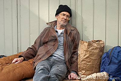 De dakloze Slaap van de Mens
