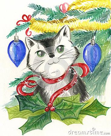 De decoratie van de kat en van Kerstmis