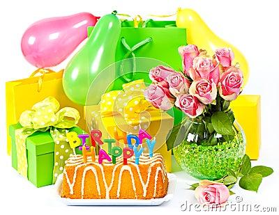 De decoratie van de verjaardag kaart concept stock for Decoratie verjaardag