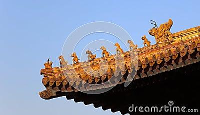 De decoratie van het dak. Verboden Stad. Peking. China