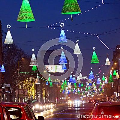 De decoratie van Kerstmis in Boekarest