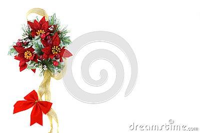 De decoratie van Kerstmis van poinsettia met gouden lint