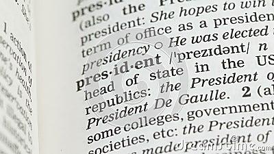 De definitie van het voorzitterswoord in woordenschat, de democratische leider van de republiek, gouverneur stock video